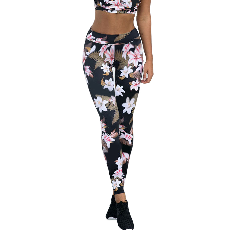 New Hot Women Girls Floral Leaves Print High Waist Fitness   Leggings   Stretch Pants Trousers