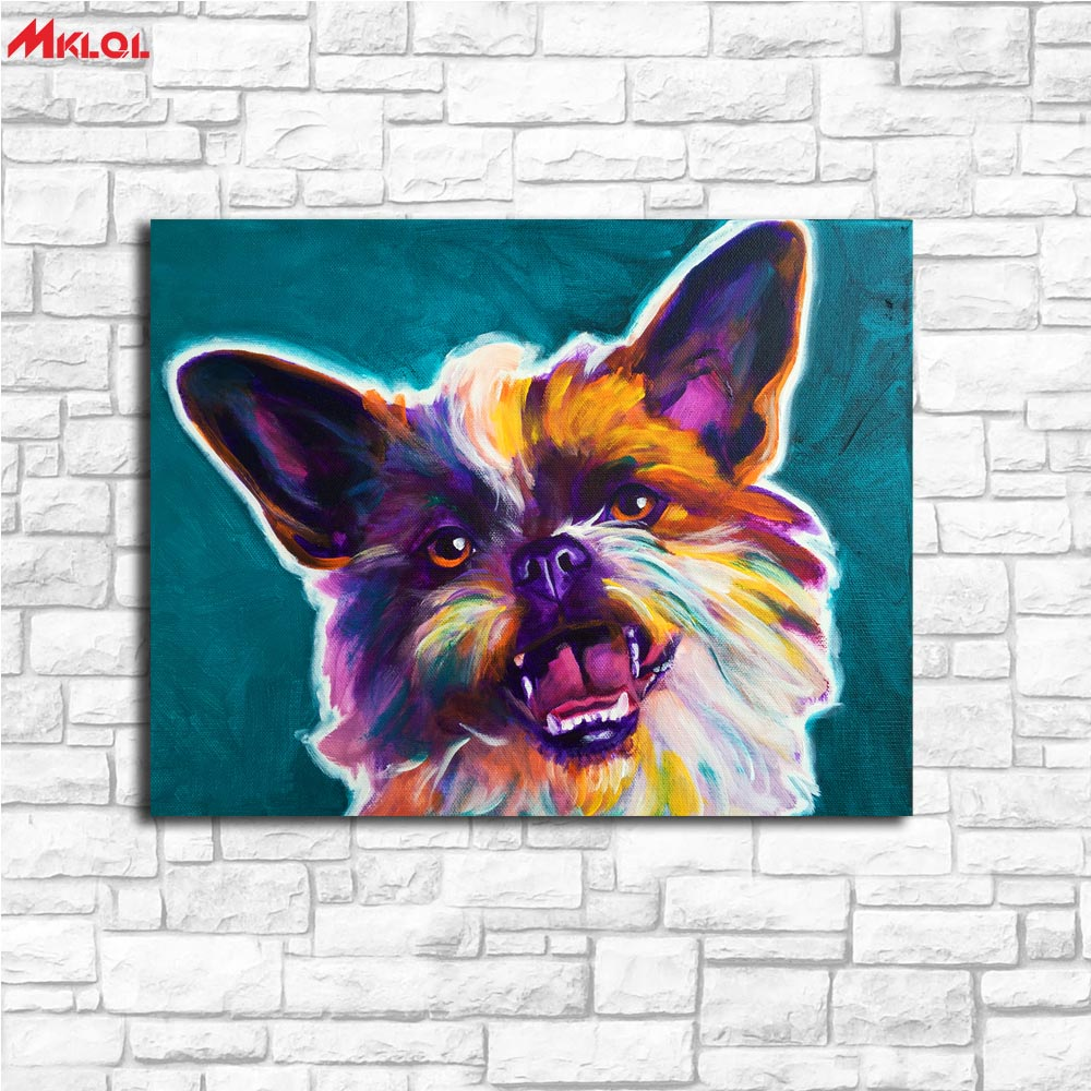 Large Wall Art Surprise Dog Canvas Painting For Living Room Home Decoration Oil Painting On Canvas Wall Painting Unframed
