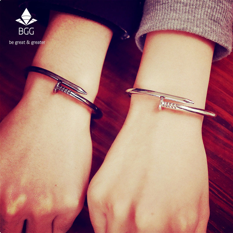 BGG Nail Cuff Bangles Copper Bangles for Women Gold Pulsera Jewelry Stainless Steel Screw Bracelet Pulseiras Femininas