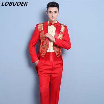 Chinese style Male Swallowtail Costumes Red Embroidery Tailing Blazers suits Prom Men singer Host stage Tuxedo performance Suit