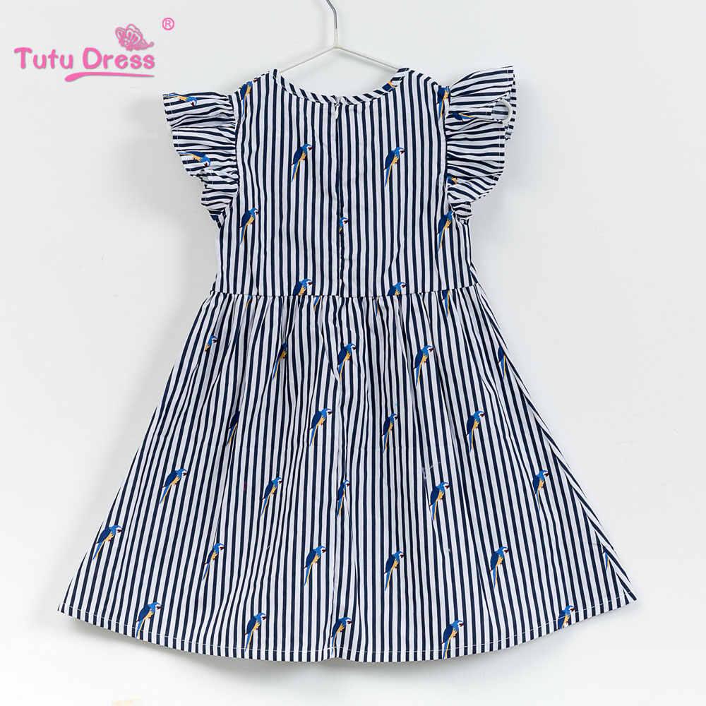 5ae54bc9f91 ... 2018 Платье для маленьких девочек полоска в морском стиле Цветочный  принт платья принцесс для дизайнера официальная ...