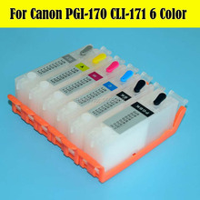 6 Color 170 171 Ink Cartridge For Canon PIXMA MG7710 Printer With PGI-170 CLI171 INK Cartridge Chip 6 color ink cartridge for canon bci 1431 tinta use for canon w6400 w6200 w7250 7250 with chip