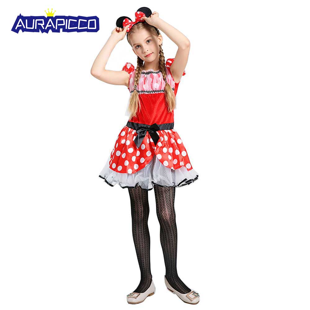 Cute Mouse Girl Costume Red Polka Dots Puff Sleeve Short Dress Kids Animal Costumes Gift  Halloween Carnival Party Dress