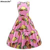 HimanJie New Women Pink White Fruit Pineapple Printed Dress Sleeveless Summer Swing Midi 50s Vintage Dresses