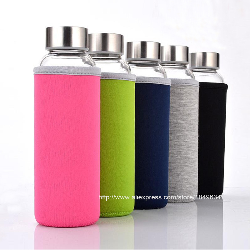 High Quality Glass Water Bottle with protective bag 280ml 360ml 550ml Drinking glass teapot sports travel