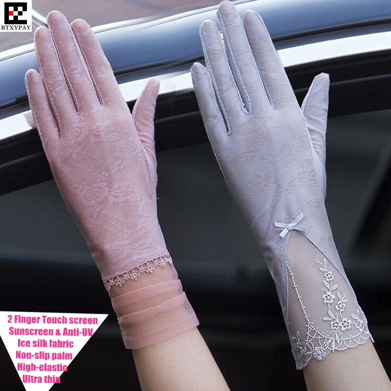 600pairs Women Summer Ultra Thin Touch Screen Gloves,High-elastic Ice Silk Lace Embroidery Sunscreen Anti-UV Long-style Gloves