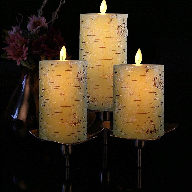 3 uds./vela electrónica de cera con batería luz LED tipo vela sin llama parpadeante vela electrónica remota decoración del hogar velas de fiesta de boda - 2