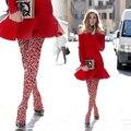 Rosa de la moda sexy estampado de leopardo de moda elegante delgada pantimedias medias alambre hembra medias de las mujeres
