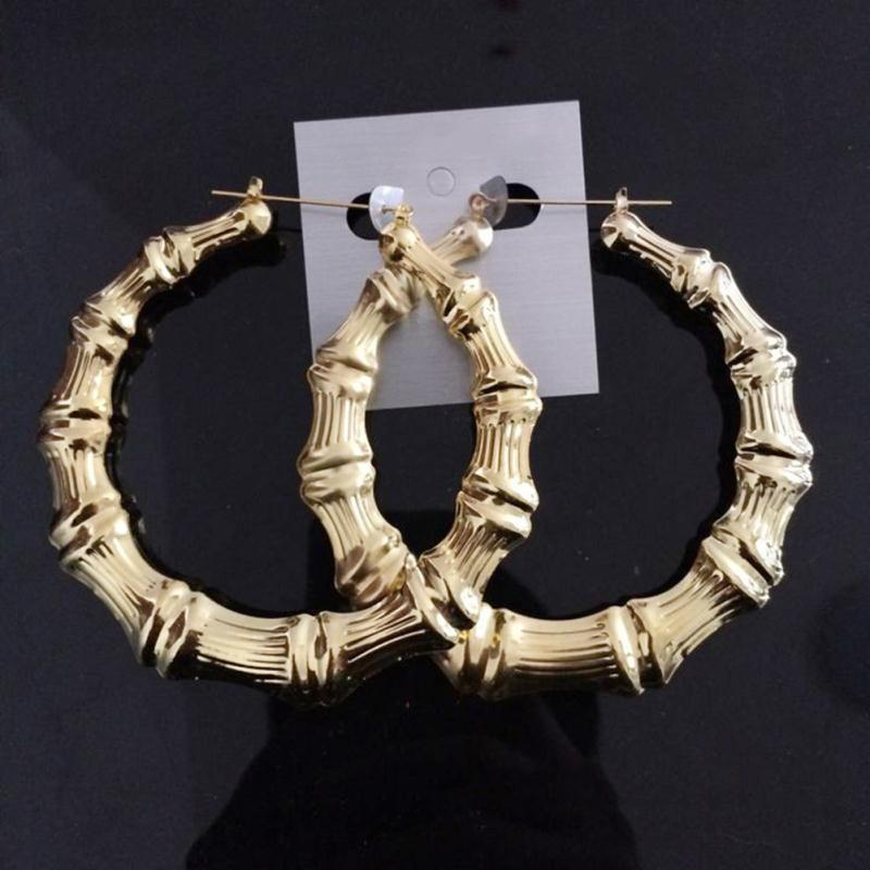 Stora Bamboo Joint Hoop Örhängen Hip-Hop Golden Ladies Big Circle Hoop Studs Street Dance Club Hoop Earrings