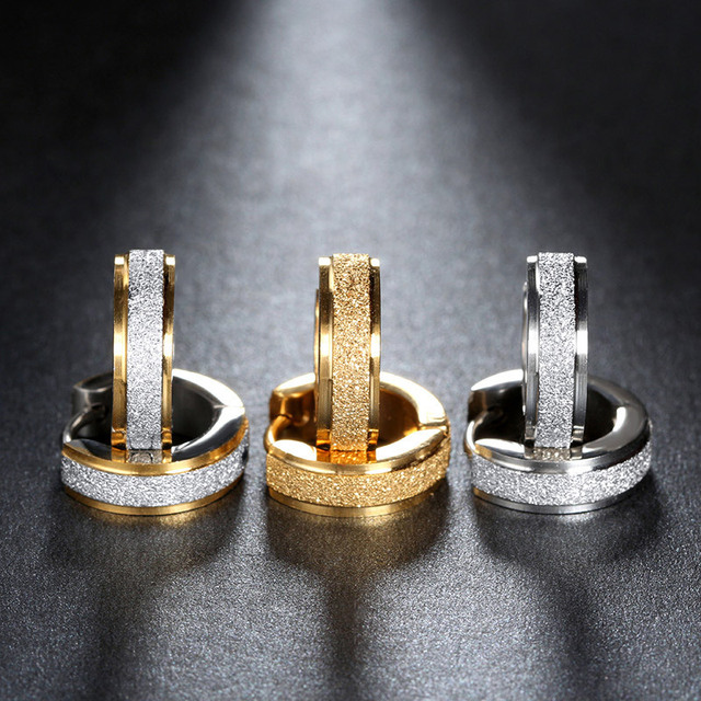 Anti-allergic titanium steel buckle earrings for women tide fashion stainless steel earring punk Unisex fashion jewelry