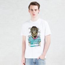 trend-setting lion T-shirts gentleman animal shirt Funny Short Sleeve men Tshirts 2016 New Fashion Young artists TOP TEES
