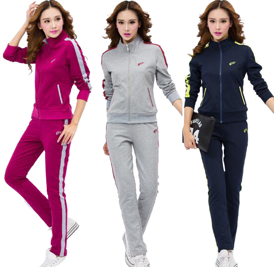 2017 Women Two Piece Set Sporting Tracksuit Casual Long Sleeve Embroidery Hoodies Plus Size 3XL 4XL Sweatshirt Survetement