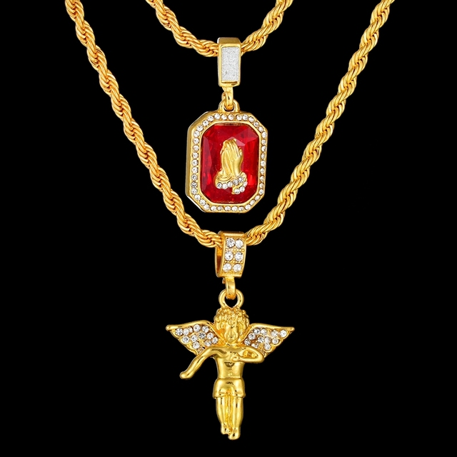 54aea9bcc0fd4 Aliexpress.com : Buy High Quality Men's Hip Hop Pray for Hands And Angel  Pendant Necklace Set Gold Color Crystal Necklace Father's Day Gift from ...