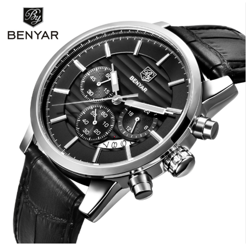 BENYAR Mens Watches Top Brand Luxury Waterproof 24 hours Date Quartz Watch Men Sports Leather Wrist Watch Men Waterproof Watch north fashion mens watches top brand luxury watch men gold leather analog display date men s waterproof quartz watch for men