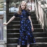 Fil coupe otwórz wróć peleryna sukienka floral vintage sukienka sexy backless eleganckie panie odzież drążą ruffles kobiety midi sukienka