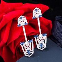 France Fashion Jewelry Brand Design 925 Sterling Silver Shield Shape Earrings For Women Luxury AAAA Zircon Crystal Long Earrings