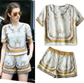 Good Quality Women's Summer Casual Pants Sets Vintage Short Sleeved Graceful Blouses+Shorts Pants 2XL Plus Size Suits NS355