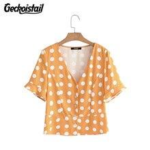 Geckoistail Mulheres Verão 2018 Blusas e Camisas Top de Manga Curta Polka  Dot Botões Femininos calças 80ce97ec84a