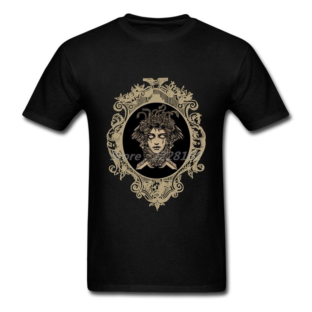 인쇄 티셔츠 남성 작업 남성 T 메두사 크루 넥 하라주쿠 하이 스트리트 티셔츠 캐주얼 그라이스 옷