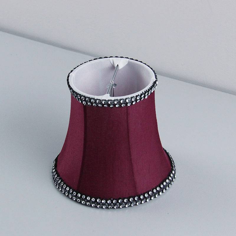 Amaranth color Luxury fabric wall lamp shades covers, Chandelier Mini Lamp Shade, Clip On lampshade