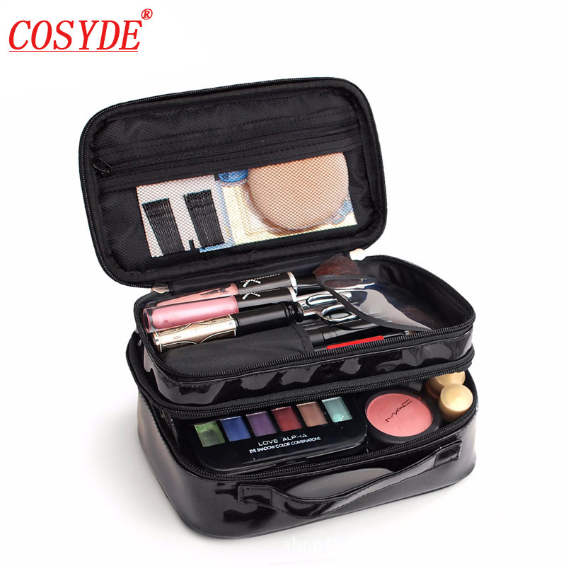 Cosyde Women Double Layer Waterproof Makeup Bag Female PU Portable Cute Pouch Case Toiletry Organizer Ladies Travel Cosmetic Bag цена