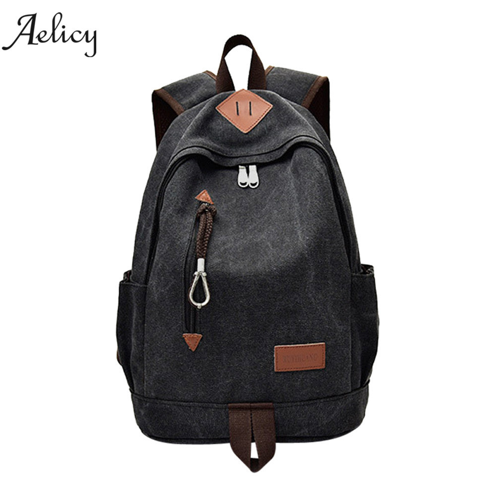 Aelicy Casual Men Canvas Backpack School Travel Student School Laptop Bag Solid Backpack Teenage Girl Boy Zipper Backpack 1277 discount kople 2017 cartoon owl fox girl boy student shoulder bag fashion women travel satchel canvas school backpack