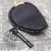 Universal for Harley Custom Chopper Bobber Motorcycle Black Crocodile PU Leather Riveting Solo Seat Cushions +3 Spring Bracket