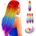 20inch Senegalese Zombie Twist Christmas four ton RainBow Color Crochet Synthetic Twist Hair Braiding Extensions for black women