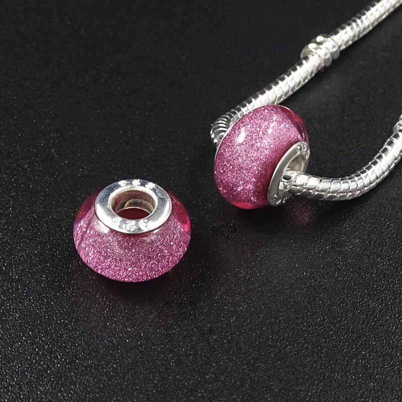 12 unidades/lotes Solto Resin Beads Fit Pandora Charm Bracelet & Bangles Encantos de Vidro Beads DIY Spacer Beads & Jewelry Making