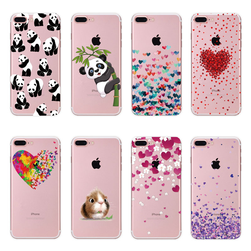 Butterfly Love Hearts Pattern Transparent TPU Phone Case Cover For Iphone 7 8 Plus 6 S 6S X 10 5S 5 S SE Soft Silicone Cases Bag