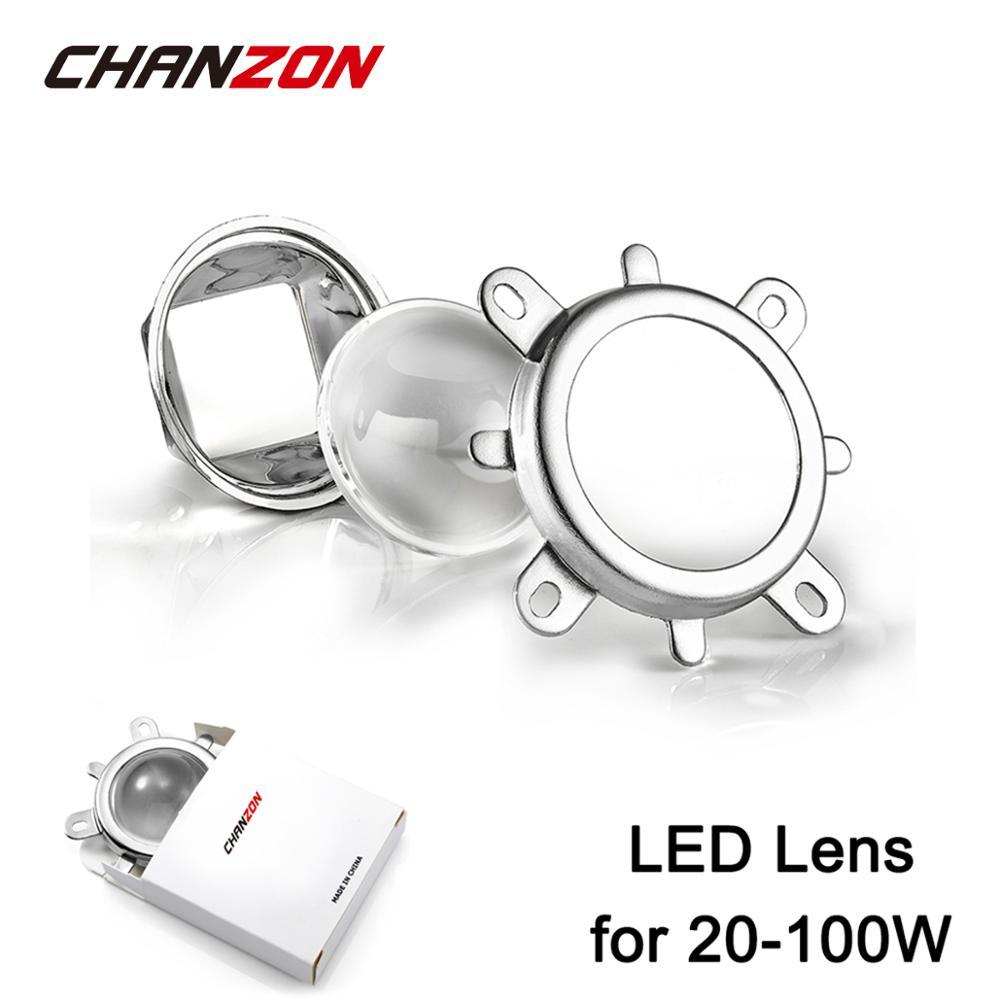 Conjunto 1 44mm 60 grau LED Lente de Vidro Óptico + 50 milímetros Refletor Colimador + Suporte Fixo Para 20 W 30 W 50 W 100 W Chip de Alta Potência COB