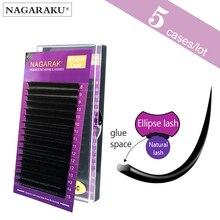 Nagaraku b c d 0.15mm 0.20 thinkmix de comprimento, elipse plana extensões de cílios, economizador de tempo, facilmente macio natural e macio