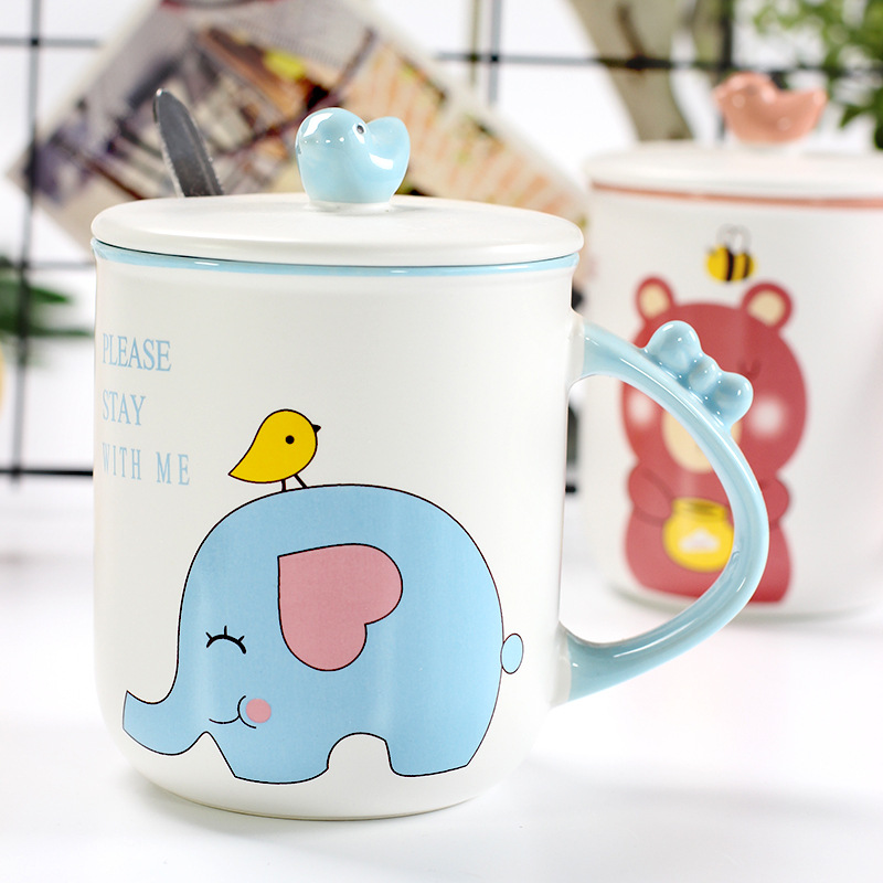 350ml Creative Three-Dimensional Animal Ceramic Cup Student Mug With Cover Spoon Cartoon Cup Personality Handle Children Gift