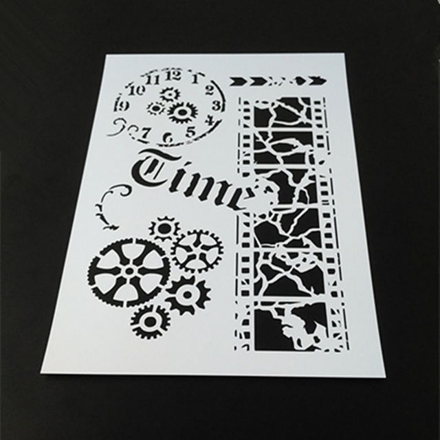 Vintage Time Film Gear Clock Stencil Template Design For