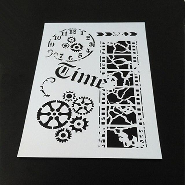 Vintage Time,Film,Gear Clock Stencil Template Design for