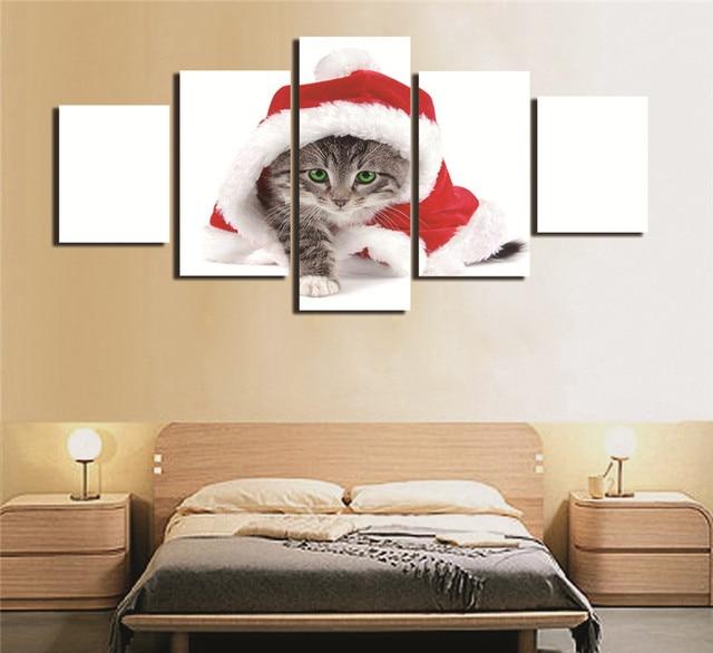 Фото 5 шт милый холст с изображением санта кота рождественское украшение цена