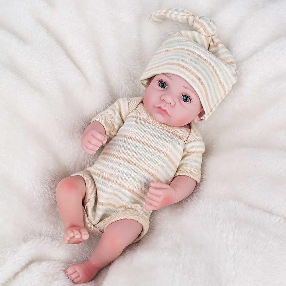 Cheio de Silicone Bonecas Reborn 18 polegada 28 centímetros Adorável Mini Handmade Renascer Bebe Crianças Lifelike bathment lol Jogo Da Menina brinquedos