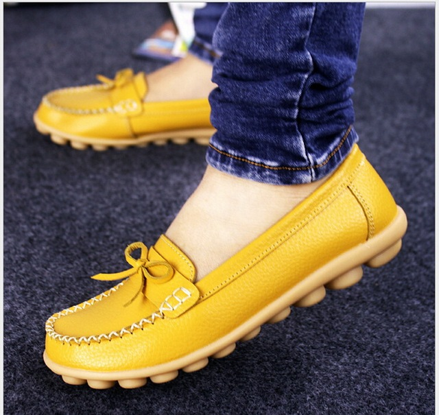 Shoes Woman 2017 Genuine Leather Women Shoes Flats 7Colors Loafers Slip On Women's Flat Shoes Moccasins Nurse Work Shoes