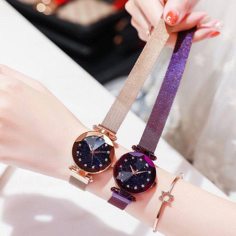 Romantic Starry Sky Ladies Quartz Watch Galaxy Dial Star Space Pattern Analog Women Wrist Watches Metal Strap Magnet Clasp Gift