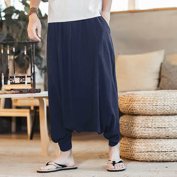 INCERUN Plus Size 5XL Mens Joggers India Nepal estilo algodón Lino Harem  pantalones hombres Casual baja entrepierna pantalón HipHop Baggy pantalones f5e5fd103f8