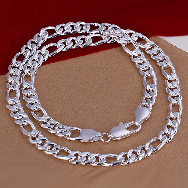 1a410df502578 US $12.33 |24 inch 925 sterling silver men jewelry 10 mm flat figaro chain  silver 925 necklaces for men-in Chain Necklaces from Jewelry & Accessories  ...