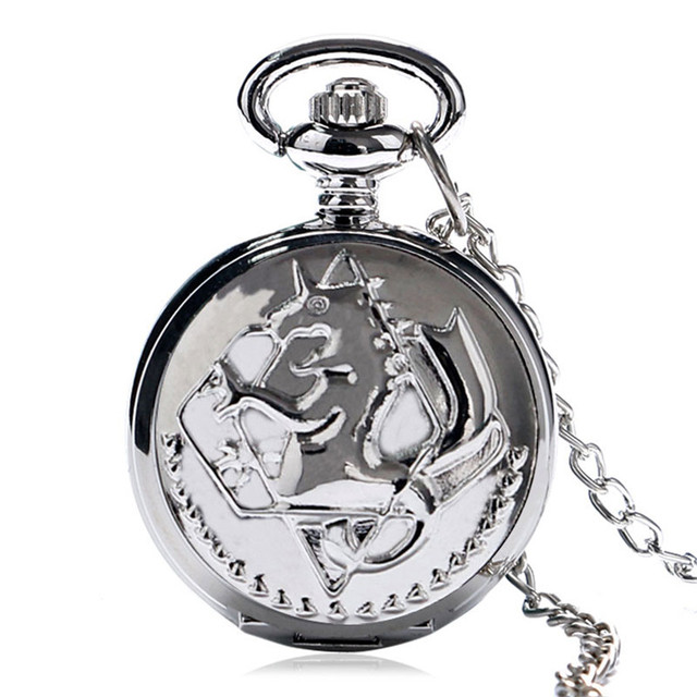 Hot Anime Small Pocket Watch Silver Fullmetal Alchemist Symbol Slim