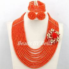 Splendid Wedding Beads Jewelry Set African Women Fashion Set Orange Coral Beads Necklace Bracelet Set New Free Shipping ABY210(China)