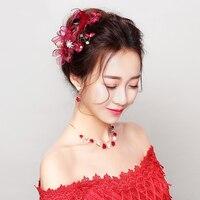Rot Faux Feder Haarspangen Blume Handgemachte Haarspangen Hochzeits Hochzeit Haarnadeln Kopfschmuck Partei Haarschmuck Frauen Ornamente