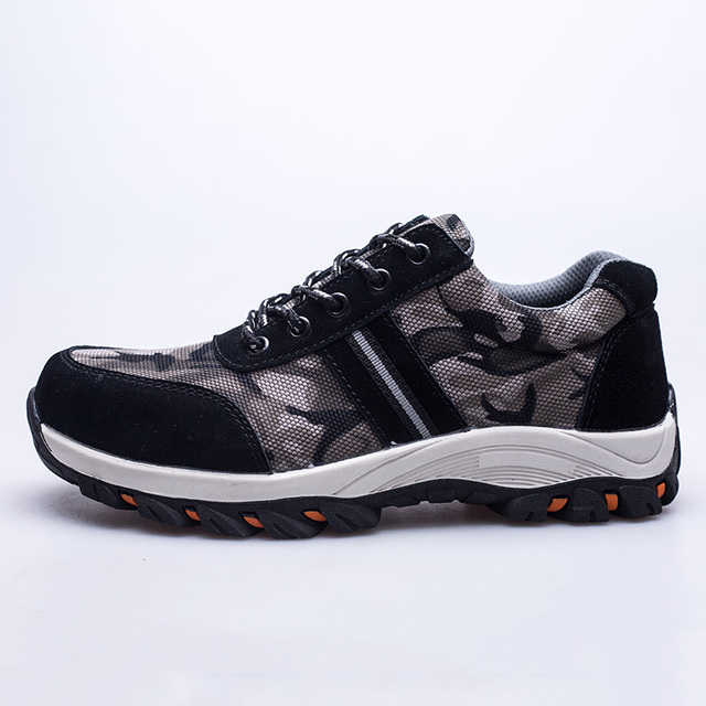 80fe9abe55 US $25.64 14% OFF|Weweya Man Big Size Piercing Outdoor Shoes Men Steel Toe  Cap Military Safety Work Boots Camouflage Puncture Indestructible Shoes-in  ...