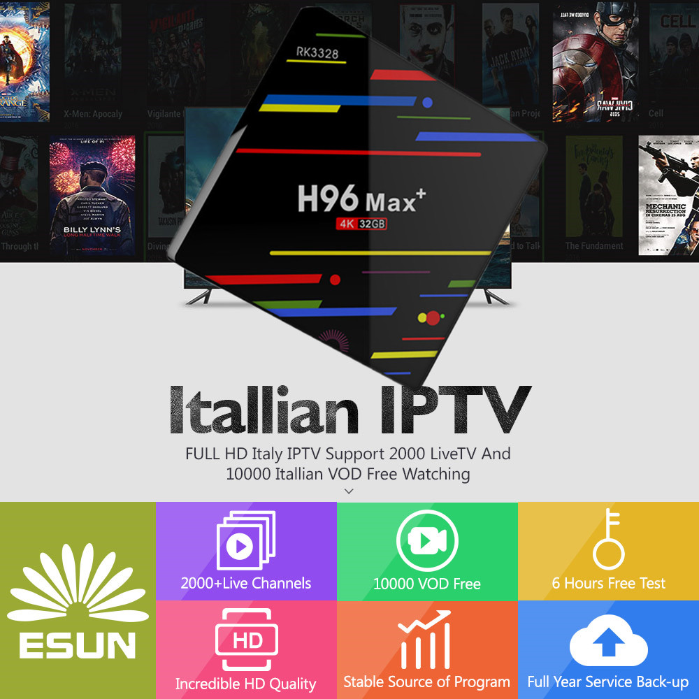 H96 MAX+ Android8.1 TV BOX 4/32G With 1 year Spain/French/Germany/Albania/Italy/Portugal/EX-YU/Europe/xxx VOD IPTV with EPG h96mini italy iptv a5 tv box with 1 year 4g 32g italy iptv epg 4000 live vod configured europe albania ex yu xxx channels box