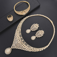 missvikki Ethnic Gold Jewelry Set For Brides Wedding Crystal Necklace Bracelet Earrings Ring Sets AAAAA Cubic Zirconia