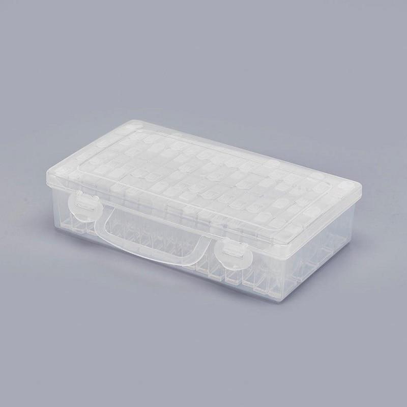Diamante transparente Beads contenedor Daimond Rhinestone piedra organizador almacenamiento cubierta con agujero diamante pintura caja de accesorios