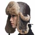 URSFUR Натуральная Кожа Авиатор Hat с Мехом Кролика ушанка большой размер Меховая Шапка с Реальными Raabbit Шерсти 2 цветов на выбор