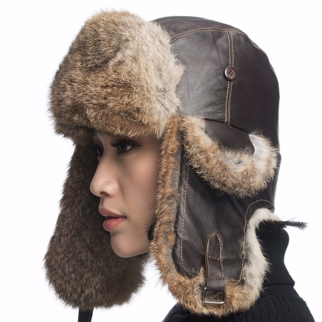 URSFUR Real Leather Aviator Hat with Rabbit Fur Ushanka hat big size Fur Cap  with Real 2e482279e0aa
